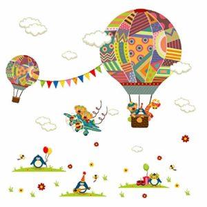 Vaycally Autocollant Mural d'autocollant Mural pour Enfant en Ballon à air Chaud Mural Amovible pour la décoration de Votre pièce à la Maison (36X12Inch) par l'autocollant Mural