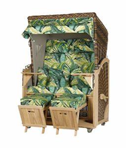 WODEGA Woldega Corbeille de Plage en Bois d'acacia 2 Places Vert Jungledesign tressé Croco avec 2 roulettes et chaises de Plage montées