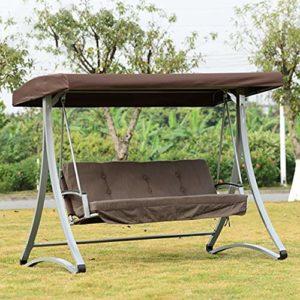 ZDYLM-Y Balancelle de Jardin 3 Places 300 kg Charge Jardin Sunscreen Siège de balançoire avec Canopy, pour Courtyard Terrace
