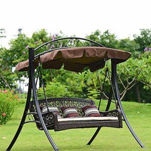 ZDYLM-Y Balancelle de Jardin 3 Places métal Balancelle Hamac avec verrière Amovible, pour Cour Terrasse