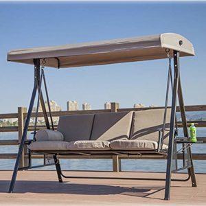 ZDYLM-Y Balancelle de Jardin 3 Seater Heavy Duty Jardin extérieur Banc avec Sun Cover Metal Frame, pour, terrasse extérieure,Triple