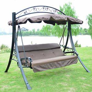 ZDYLM-Y Balancelle de Jardin 3 Seater Siège de balançoire avec Canopy Heavy Duty extérieur Chaise Swing, pour Patio extérieur Jardin Seater