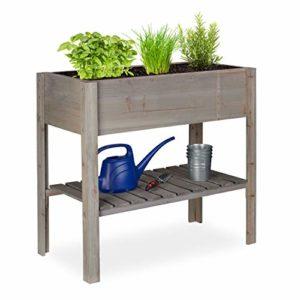 Relaxdays Carré Potager Bois, légume, Herbes, Jardin, Balcon, Jardinière sur Pied, HxlxP: 80 x 88 x 43,5 cm, Gris