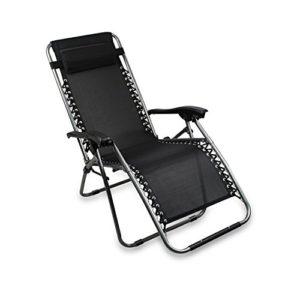 SOTECH – Transat de Plage Pliable,Chaise Longue Inclinable,Fauteuil Relax avec Coussin,Charge Maximale 100 Kg,165 x 112 x 65 cm,Noir