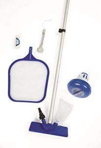 Bestway – Kit de nettoyage pour piscine : aspirateur venturi, épuisette, flotteur chimique, thermomètre flottant, bandelettes de test