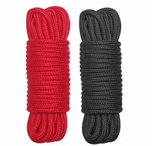 Hxiu 2 IN 1 Corde en Coton Doux Coton Corde 9 Metres 8 mm Tressé Cordon Corde ,Appropriée Pour le Bricolage,Conception de Jardin,Oeuvre D'artisanat, Décoration de Mariage(Noir-Rouge)
