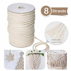 Jeteven Corde en macramé, 5mm x 100m Corde en Coton Naturel pour Tricotage pour Hanging Plant DIY Décoration Beige