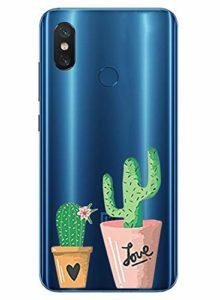 Oihxse Mode Transparent Silicone Case Compatible pour Xiaomi Mi 9 Se Coque, Ultra Mince Souple TPU Mignon Animal Série Protection de Housse Anti-Scrach Bumper Etui -Cactus