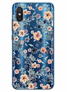 Oihxse Mode Transparent Silicone Case Compatible pour Xiaomi Redmi S2 Coque, Ultra Mince Souple TPU Mignon Animal Série Protection de Housse Anti-Scrach Bumper Etui -Fleur