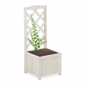 Relaxdays, Blanc Jardinière Treillis Espalier Tuteur Plantes grimpantes bac à Fleurs Bois Vigne Rose 20 L, 90 cm