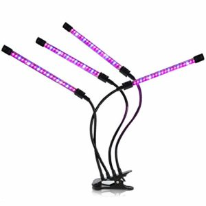 VIFLYKOO Lampe de Croissance pour Plantes,Lampe de Plante 4 têtes 40W 80 LED Dimmable 10 Niveaux Spectre Complet Éclairage pour Plantes Intérieur Serre 3 Modes minuterie Automatique (3H/6H/12H)