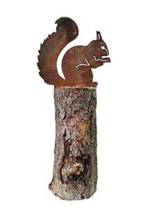 Écureuil assis–connecteur coton, décoration, 21cm–métal rouille–Décoration de jardin