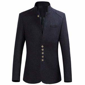 manadlian Manteau Homme Hiver Long Trench Coat Manteaux Slim Outerwear Couleur Unie Blouson en Laine Manches Longues Veste de Costume Grande Taille Parka Jacket Hommes Pulls Suit