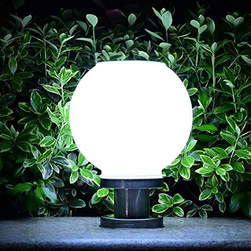 Lampe de poteau solaire à boule ronde en acier inoxydable 20 cm